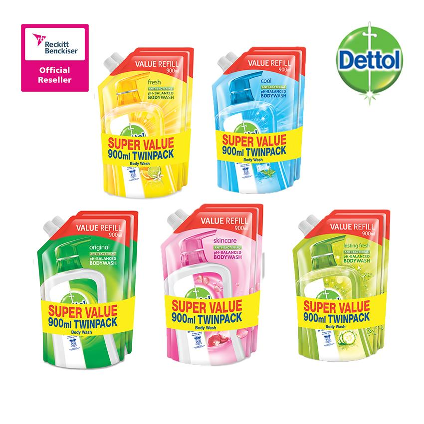 Dettol Shower Gel 900ml Refill Pouch Twin Pack
