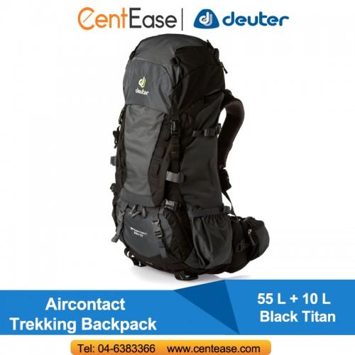 980113213b Deuter Aircontact 55+10 Litre Trekking Backpack- Black Titan. ‹ ›
