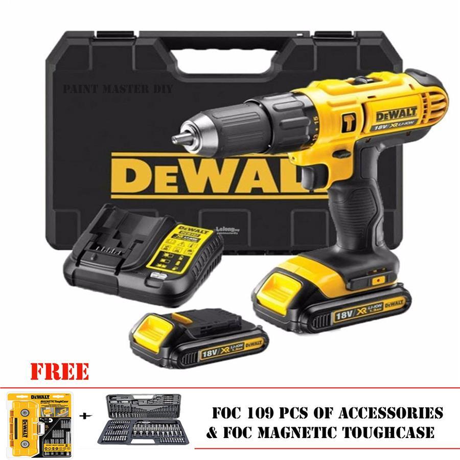 dewalt cordless drill 18v. dewalt dcd776c2a 18v 1.3ah cordless hammer drill (109 pcs accessories) dewalt cordless drill 18v