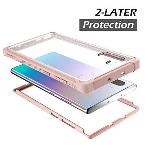 Dexnor Galaxy Note 10 Case, Clear Hard Back Cover 2 in 1 Dual Layer Soft Silic