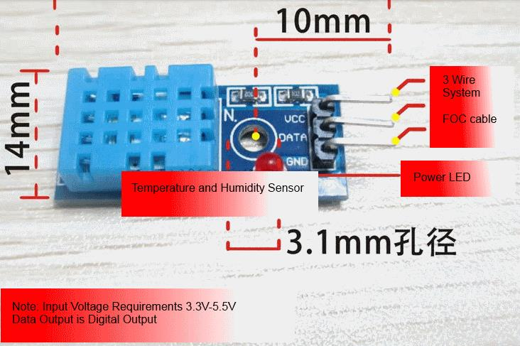DHT11 humidity sensor module temperature and humidity module FOC cable