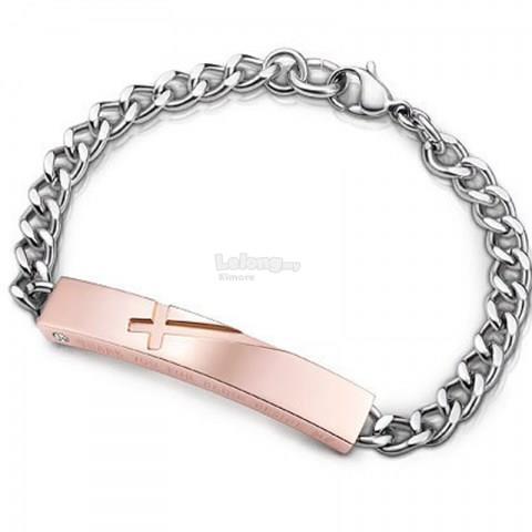 Diamond Embellished Curb Chain Link ID Couple Bracelet