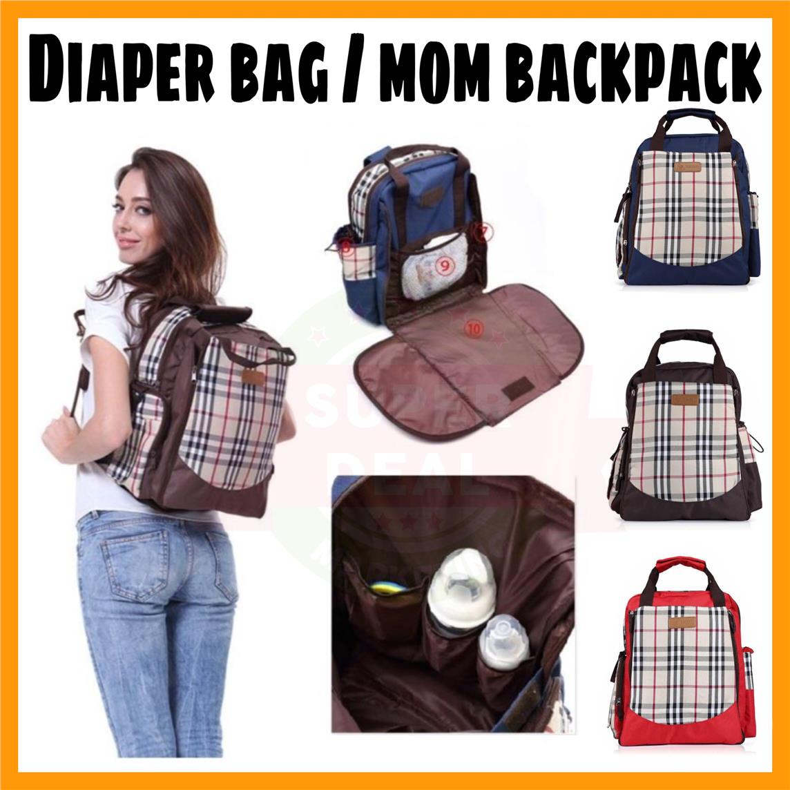 New Diaper Bag Mom Backpack Baby Kids Sling Bottle