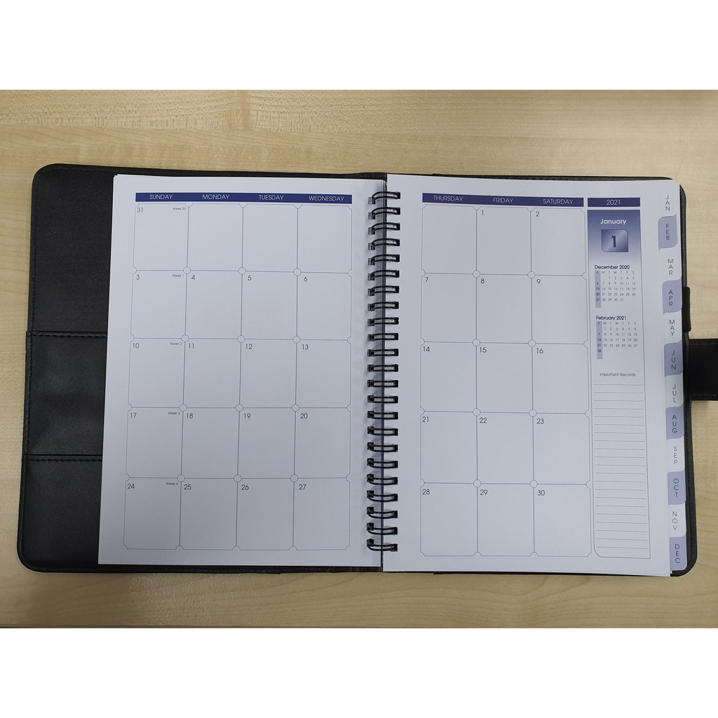 Diary 2021 A5 Pu Wire O 2021 Monthly Planner Notebook - [METRON FLASH]