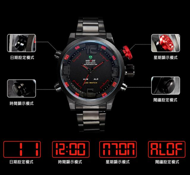 Digital Big Face Men's Stainless Steel Strap Watch Design B