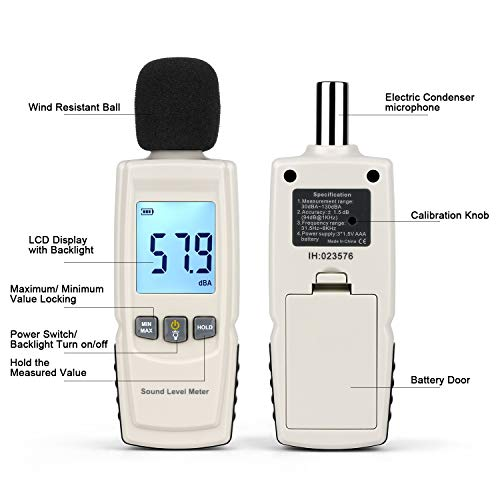 Digital Decibel Meter Handheld Noise Level Meter Sound Level Meter Reader with