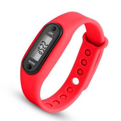 Digital LCD Silicone Band Pedometer Distance Calorie Counter Sport Watch (RED)