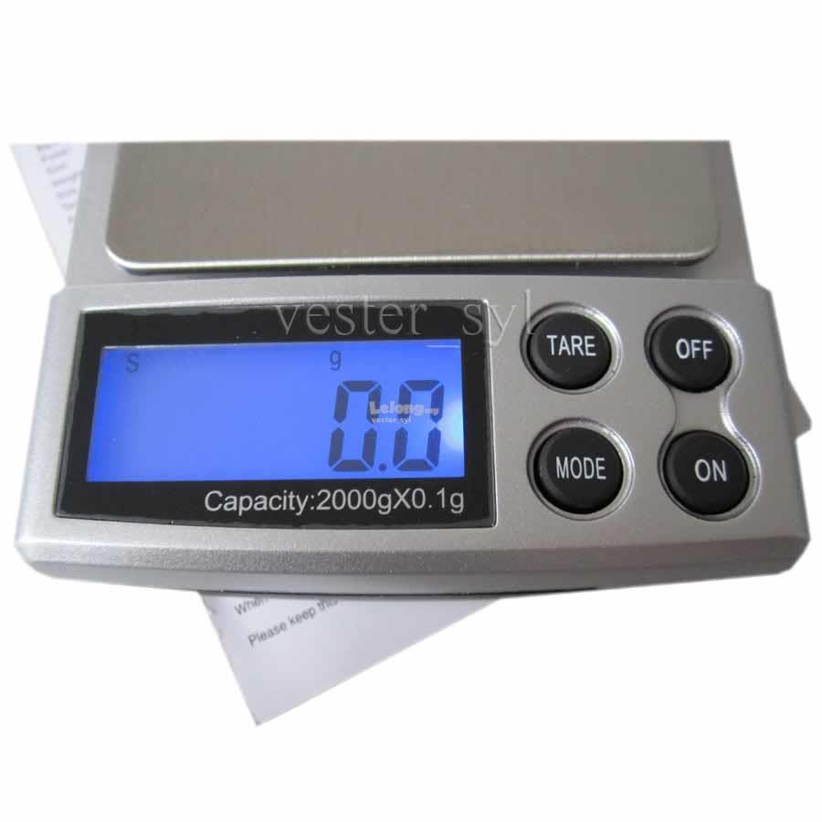 Digital Pocket Weighing Scale 2000g / 0.1g (2kg) 2000 0.1