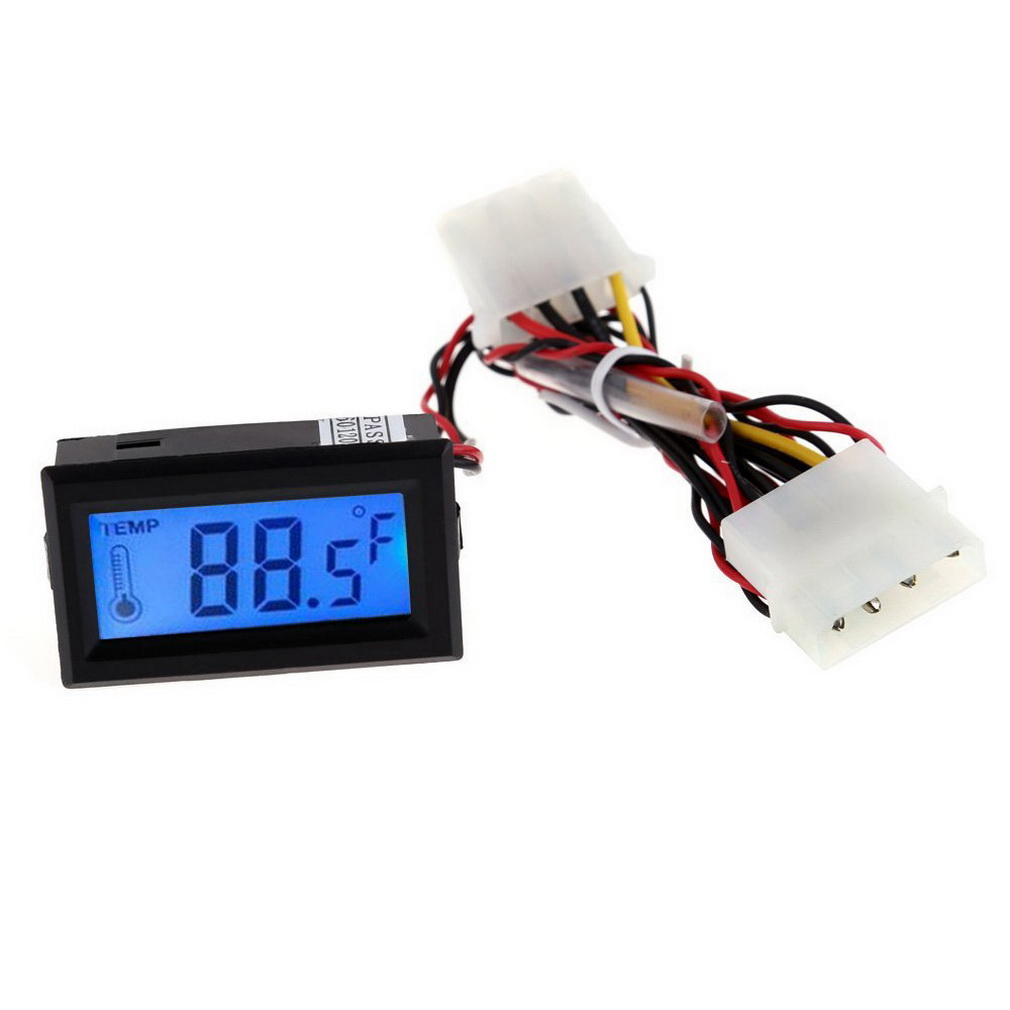 Digital Thermometer LCD Meter Gauge Detector PC Car Mod C F Molex Pan. 735c33ae4ad01