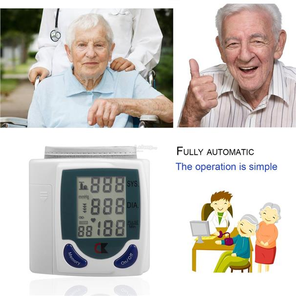 Digital Wrist Blood Pressure Monitor With Heart Beat Rate Pulse Measur