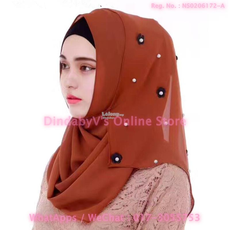 [DindabyV] Designer Little Flower & Pearl Decor Shawl / Hijab CQT642D
