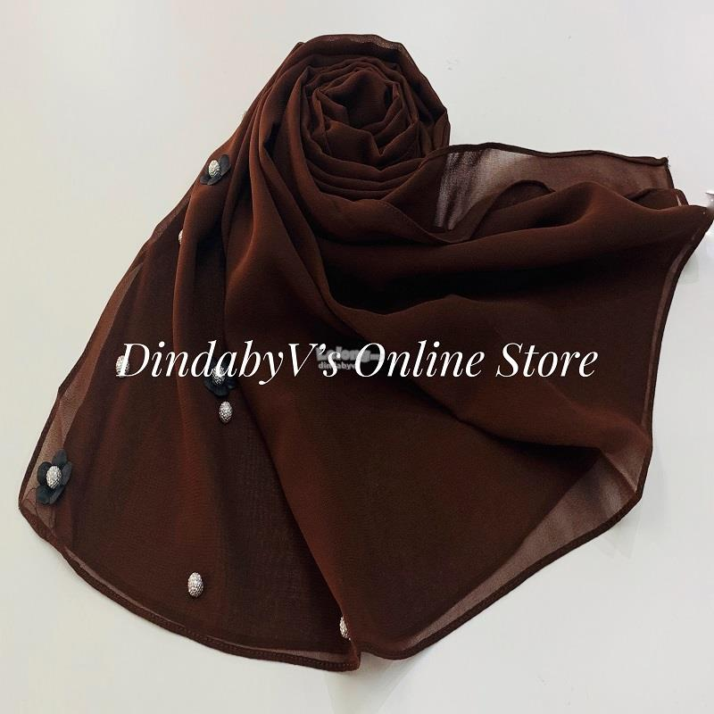 [DindabyV] Designer Little Flower & Pearl Decor Shawl / Hijab CQT642G