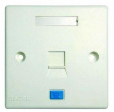 DINTEK 1 Port Faceplate with Shutter, UK Type (1303-12011)