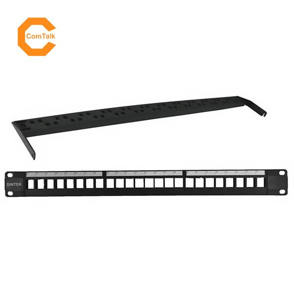 "Dintek 19"" 1U 24-Port Snap-In Blank Patch Panel with Rear Manager"