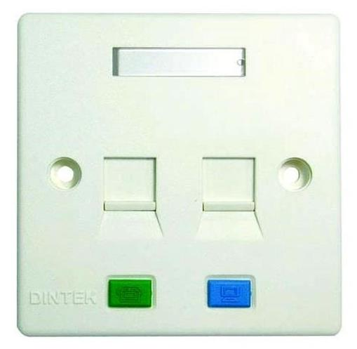 DINTEK DUAL PORT OUTLET FACE PLATE WITH SHUTTER (1303-12010)