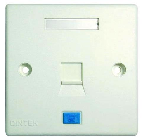 DINTEK SINGLE PORT OUTLET FACE PLATE WITH SHUTTER 1303-12011