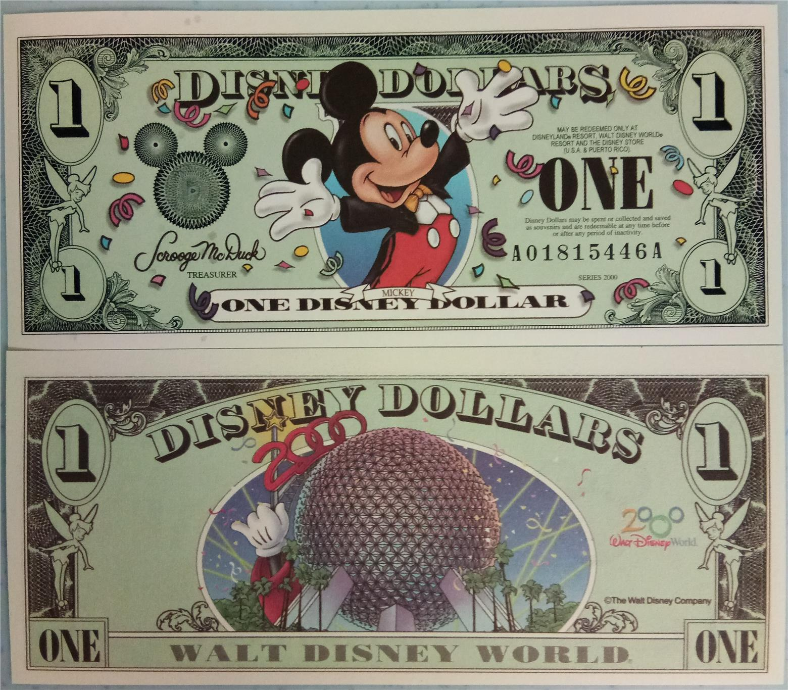 DISNEY 2000 Micky Mouse One Dollar Bill UNC