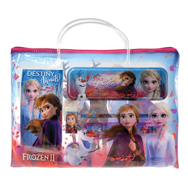 DISNEY FROZEN 2 STATIONERY SET WITH TRANSPARENT DOCUMENT BAG