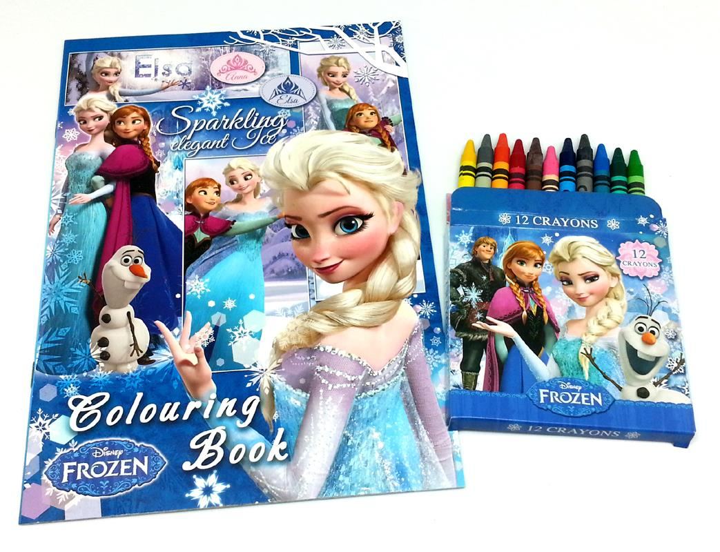 Disney Frozen Coloring Book With 12 Crayons Set