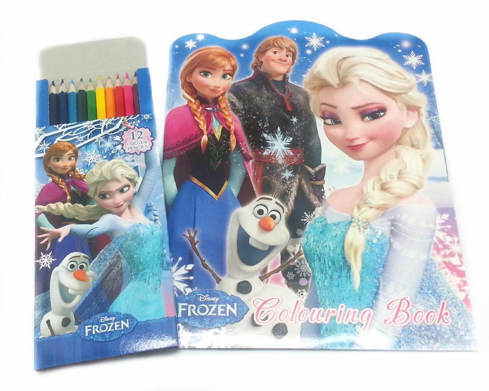 disney frozen coloring book with 12 long color pencil genuine licens - Frozen Coloring Book