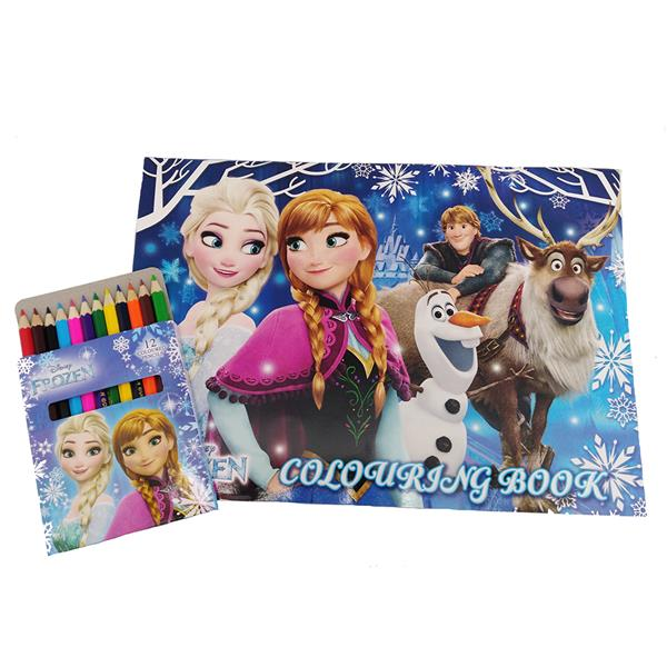 DISNEY FROZEN COLORING BOOK WITH COLOR PENCIL SET
