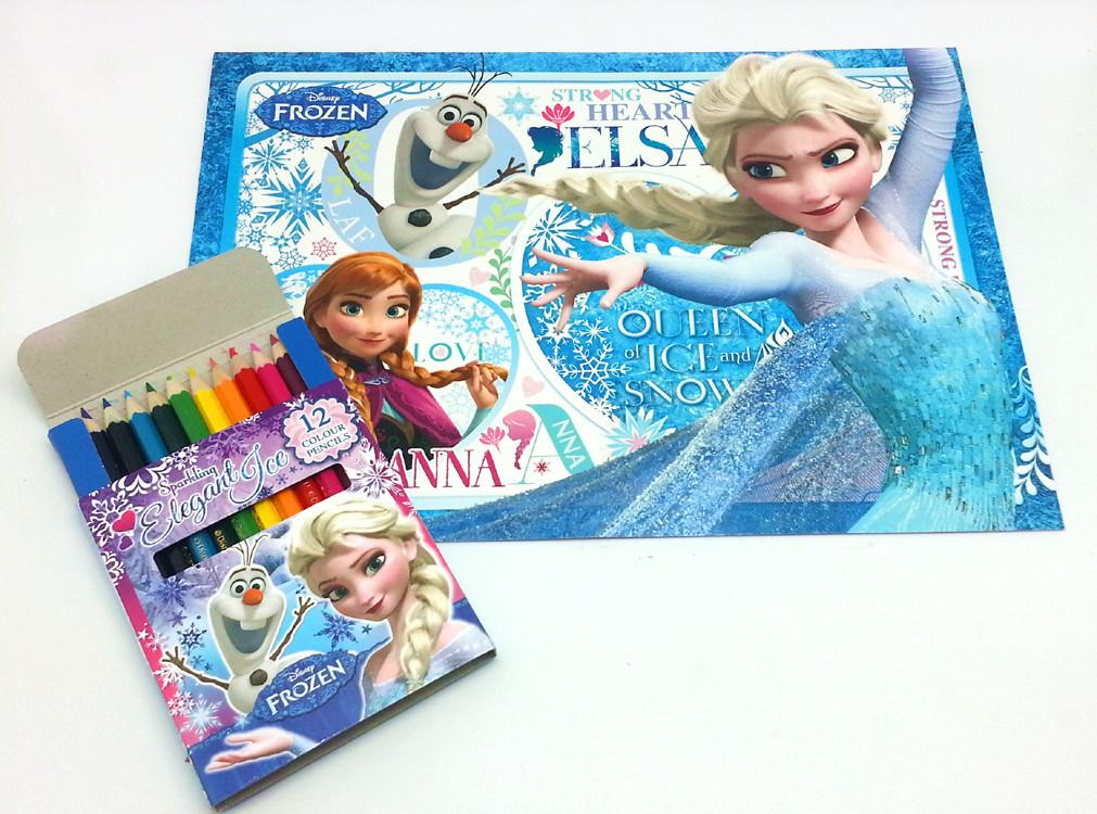 DISNEY FROZEN COLOURING BOOK WITH COLOUR PENCILS SET