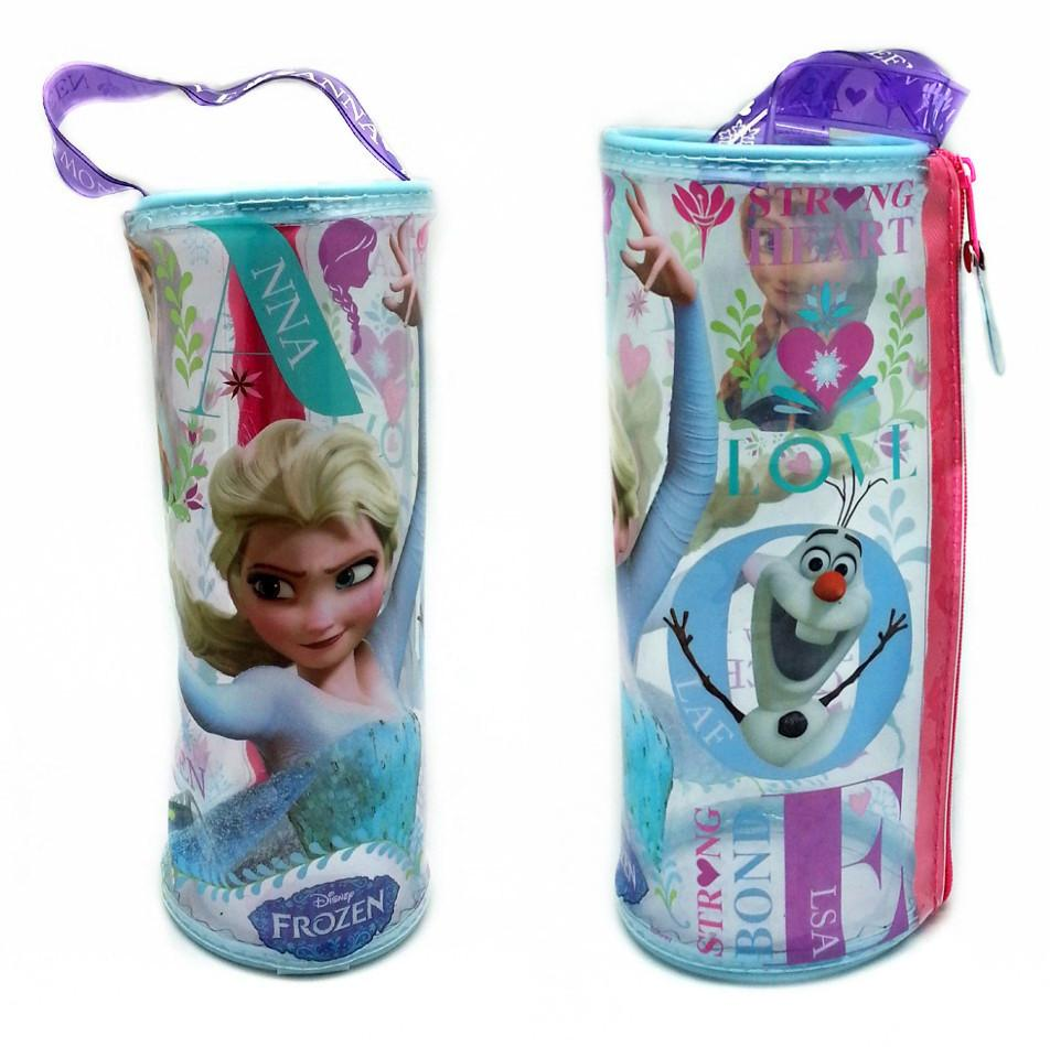 DISNEY FROZEN LOVE TRANSPARENT ROUND PENCIL BAG SET * FREE STATIONERY