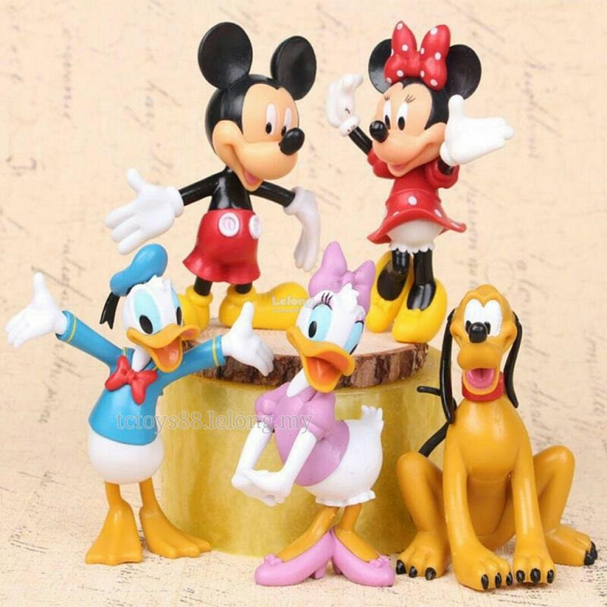 Disney Mickey Mouse Figurine. Cake Topper Minnie Figure (5 pcs). BIG