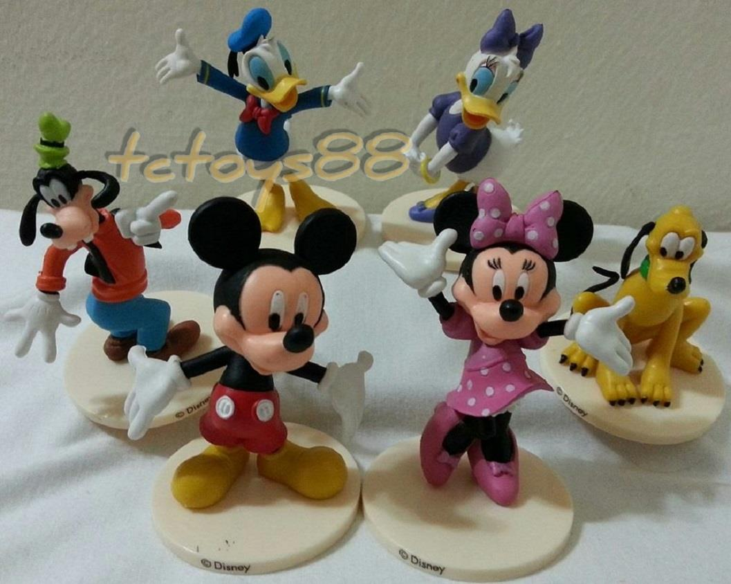 Disney Mickey Mouse Figurine Minnie Toy Cake Topper Figure. 6 pcs set