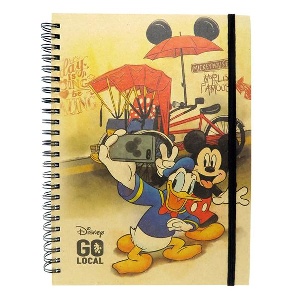 DISNEY MICKEY MOUSE GO LOCAL A5 HARD COVER NOTE BOOK (TRISHAWS BICYCLE