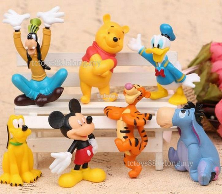 Disney Mickey Mouse Winnie The Pooh figure. Cake Topper 7 pcs set