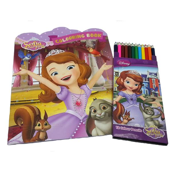 DISNEY SOFIA THE FIRST COLORING BOOK WITH 12 LONG COLOR PENCIL