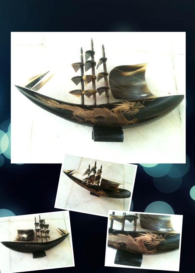 Display item -(Free poslaju) Ox Horn w/ Carving Dragon Sailing Ship