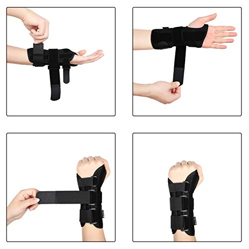 DISUPPO Wrist Brace Support Carpal Tunnel Night with Removable Splint for Hand