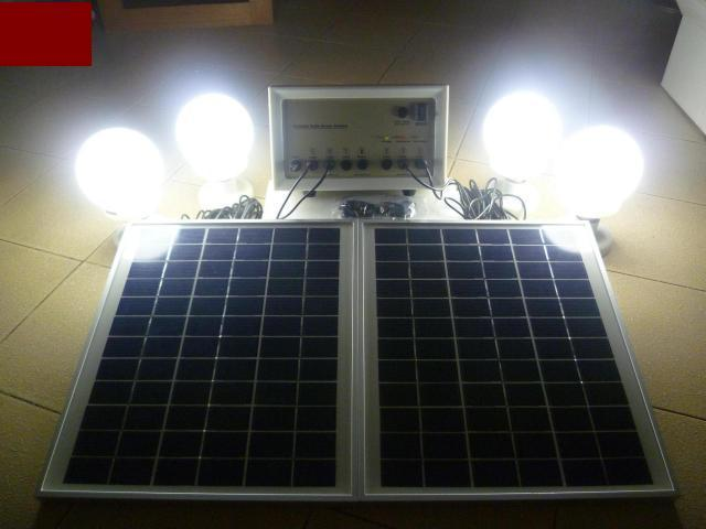 DIY 12V Solar Light System with 4 LED Light Bulbs Panel Phone Charger. ‹ ›