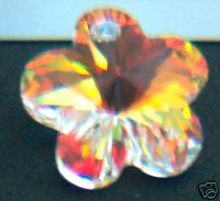 DIY 14mm #6744 Swarovski White AB Pendant 2pc Flower