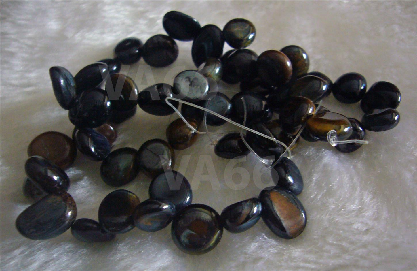 "DIY 15"" Blue Tiger Eye Gemstone Water Drop Pebble Briolette Batu Asli"