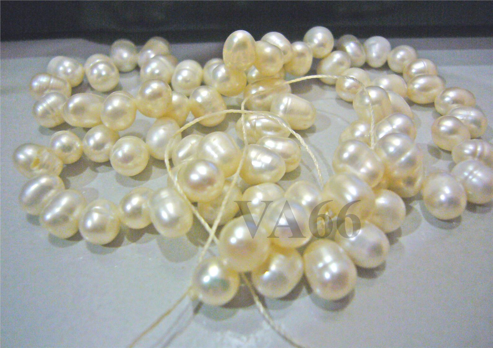 "DIY 15"" M Fresh Water Cultured Pearls 2 Way Beads Oval Puffy White Bea"