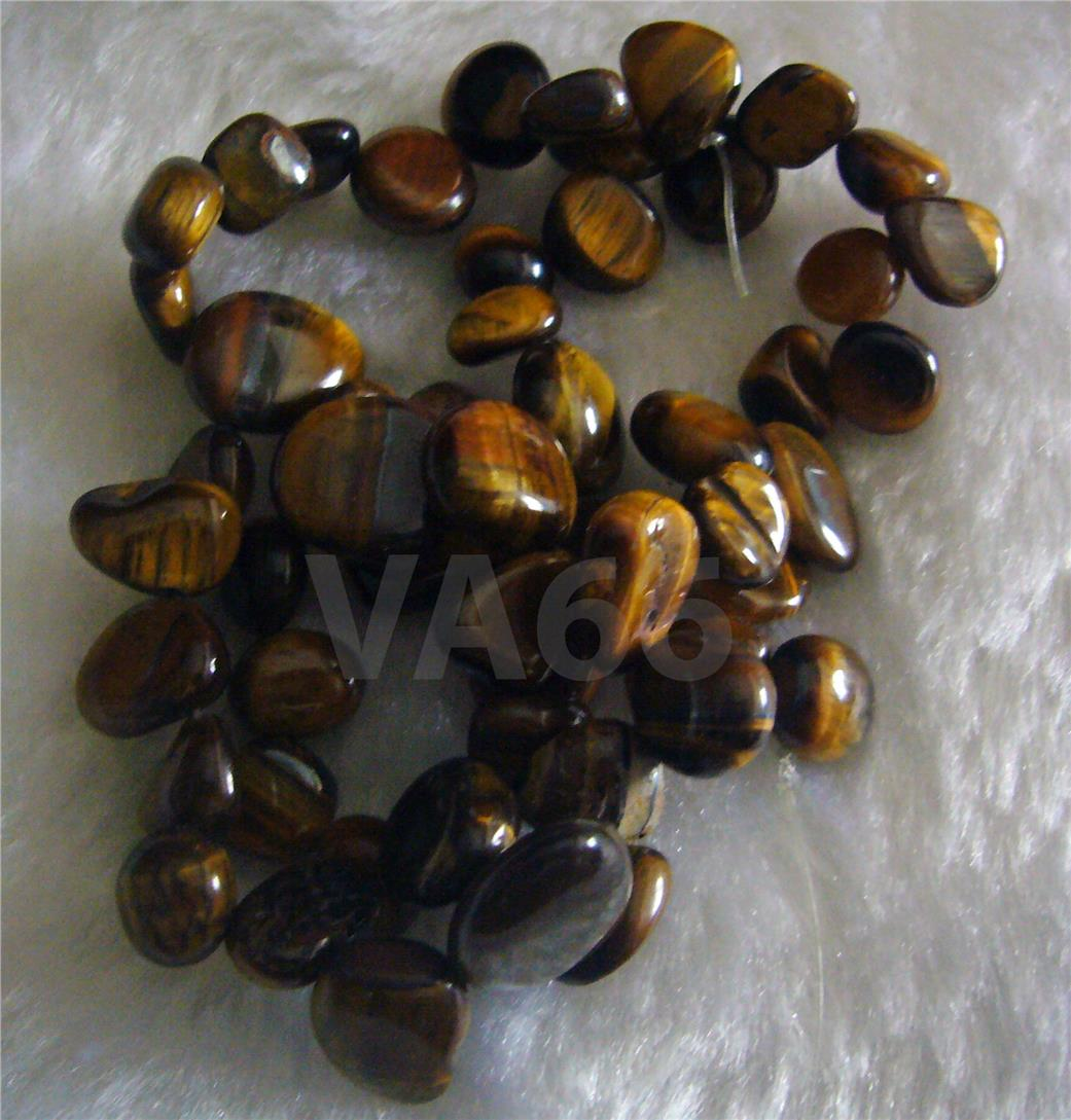"DIY 15"" Tiger Eye Gemstone Brown Water Drop Pebble Shape Briolette Nug"