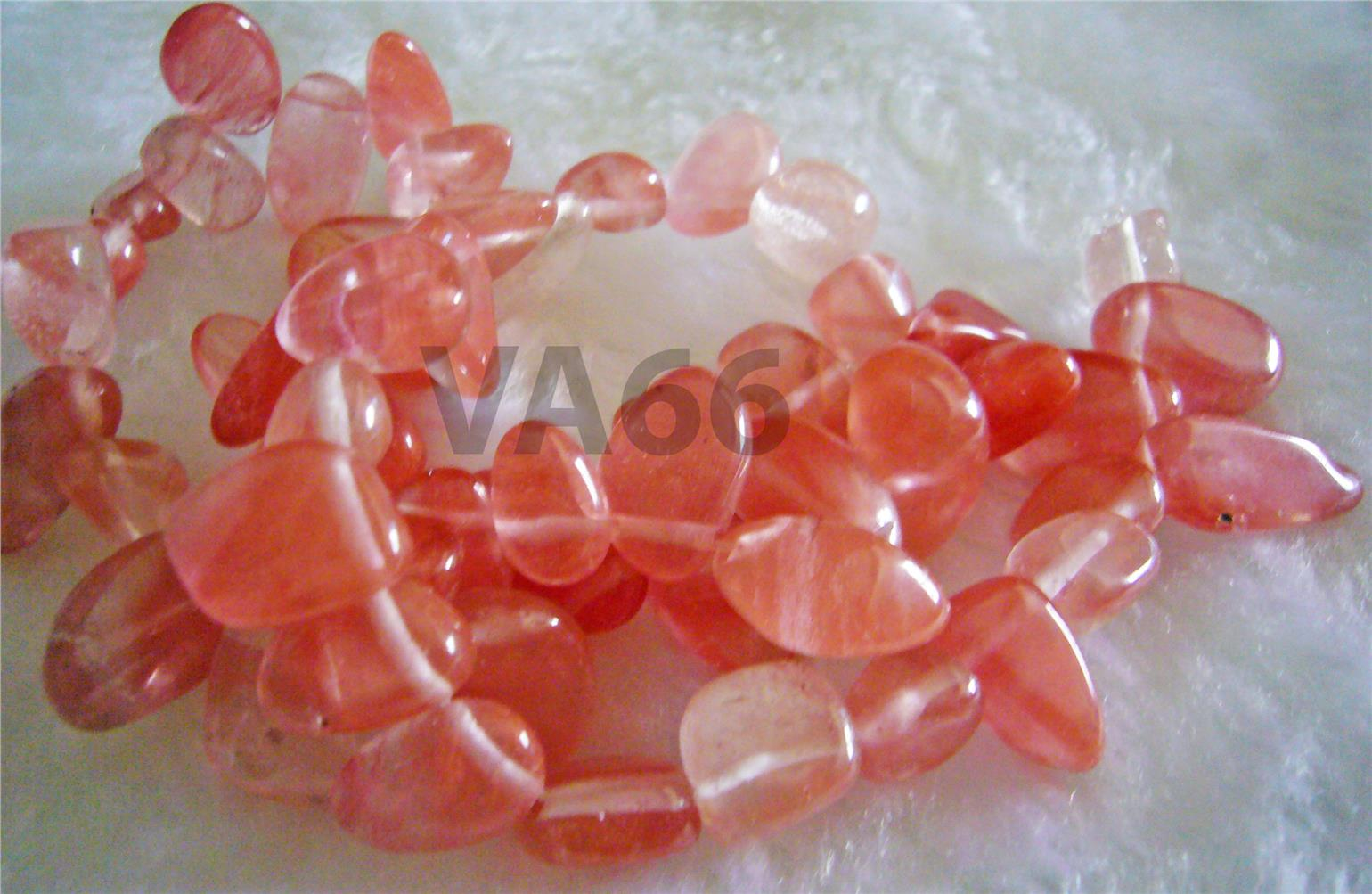 "DIY 15"" Watermelon Cherry Quartz Gemstone Water Drop Pebble Briolette"