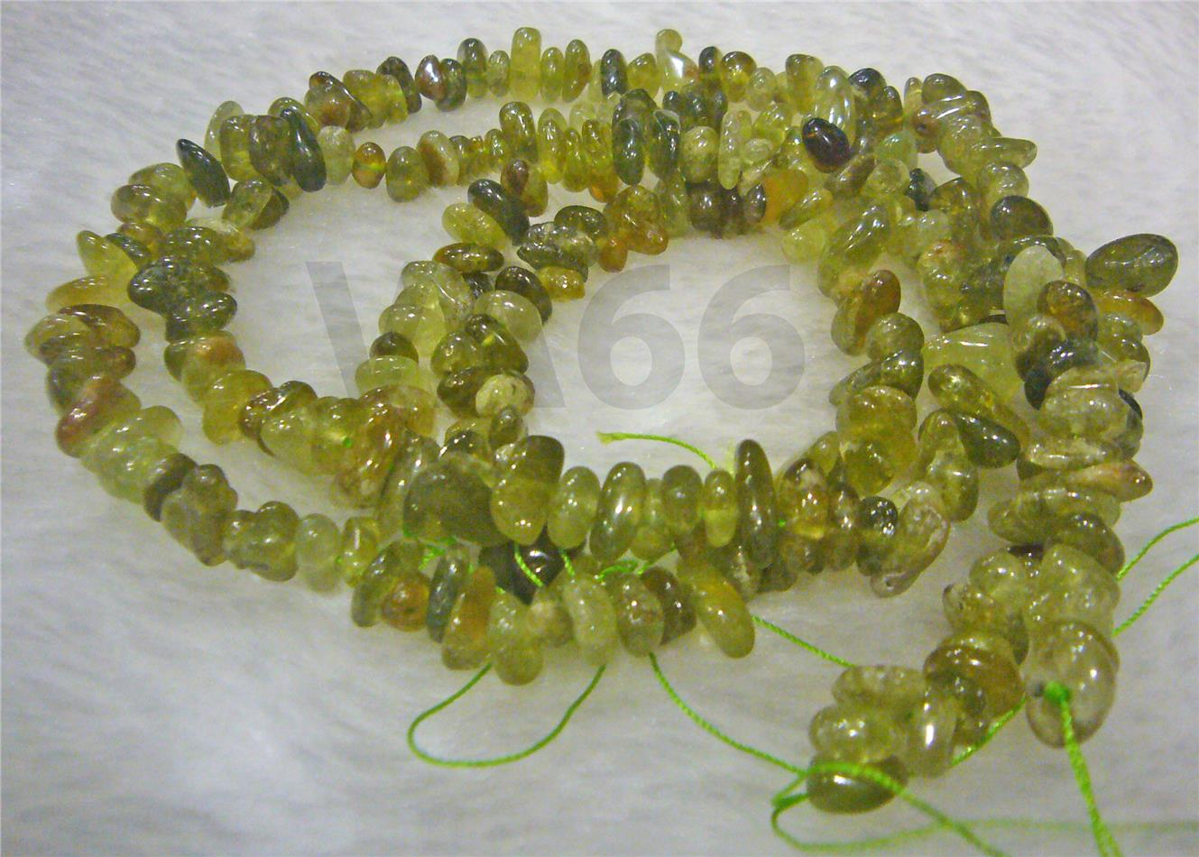 "DIY 16"" AA Green Prehnite Gemstone Chips Rare Craft Beads Batu Asli"