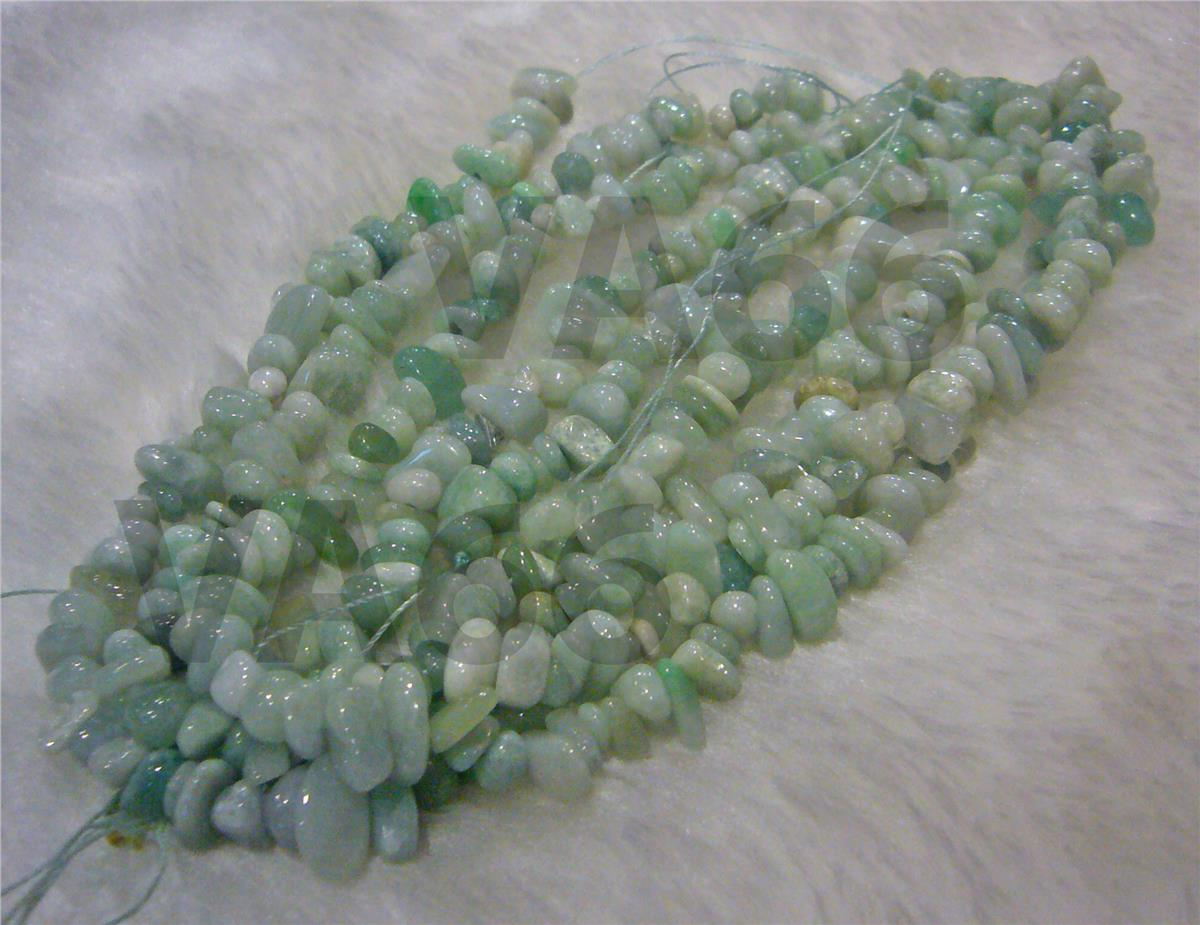 "DIY 16"" Green Jade Gemstone Chips Size 8mm - 12mm Gemstones Batu Asli"