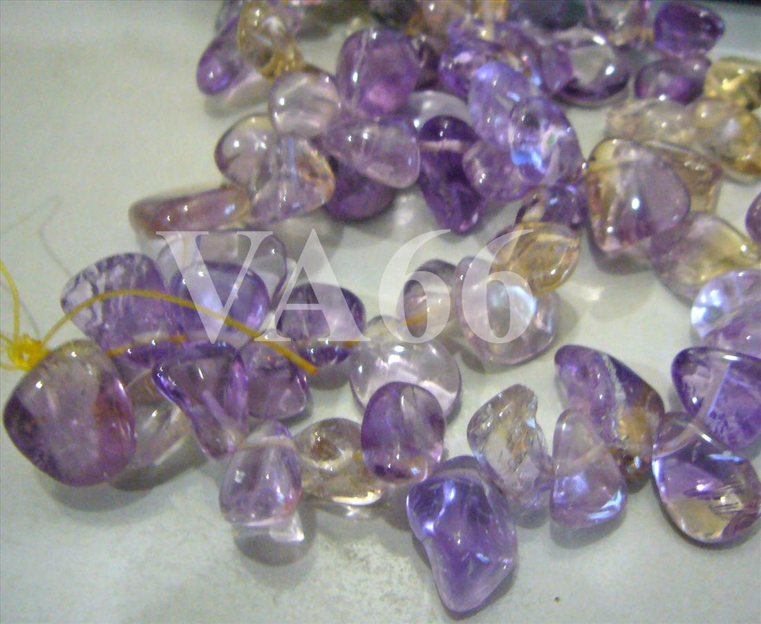 "DIY 16"" Purple Yellow Ametrine Gemstone FLAT Water Drop L Size Chips G.."
