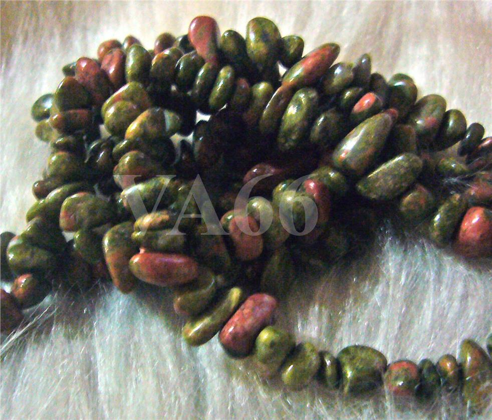"DIY 34"" Brown Green Unakite Gemstone Nuggets Round Chips Genuine Gemst"