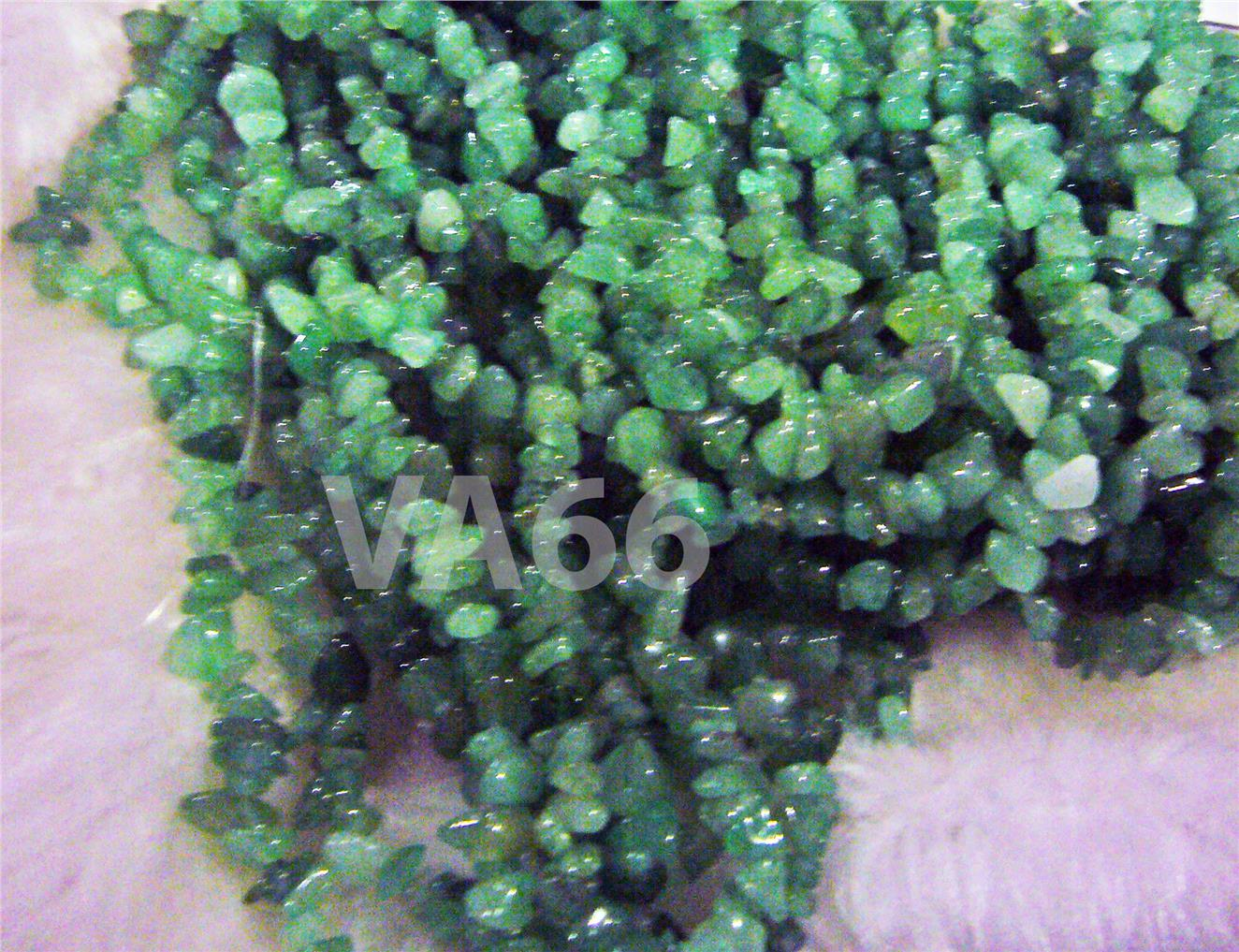"DIY 35"" Green Aventurine Gemstone Chips Gemstones Beads Batu Asli"