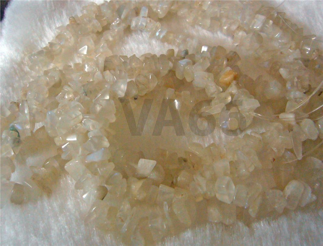 "DIY 36"" AA Rainbow Opaque Moonstone Gemstone Chips Gemstones Beads"