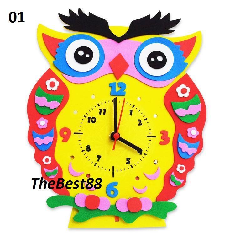 Diy 3d Art Cartoon Owl Clock Kids Creative Toy Home Diycl8801