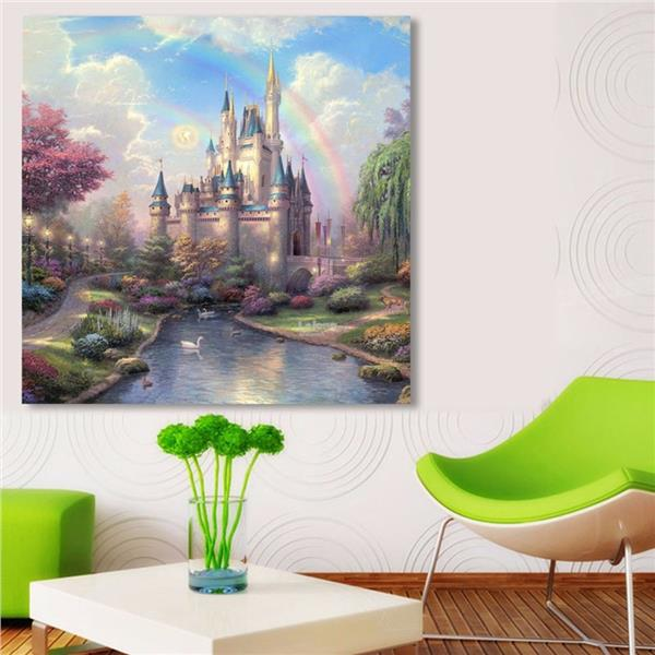 DIY 5D Diamond Ancient Castle Embroidery Painting Cross Stitch Home Wa