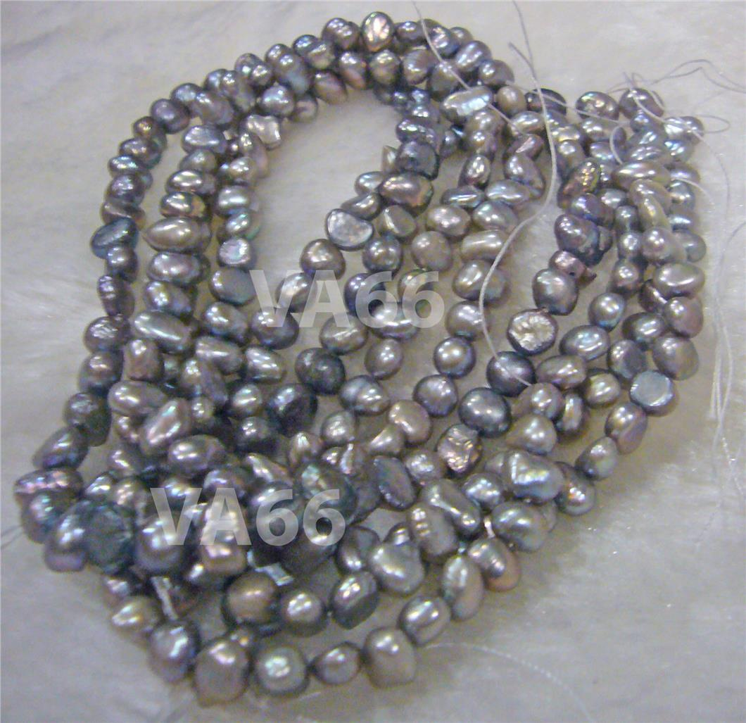 DIY AA Potato Round Pearl Fresh Water Pearls Light Grey 5mm - 6mm Bead