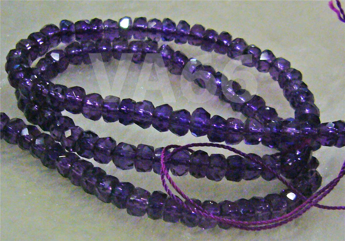 DIY Amethyst Purple Facetted Wheel Beads 4mm x 7mm Gemstone Disc Donut